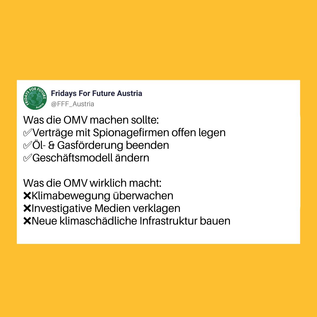 Bildschirmfoto von einem humoristischen Twitter-Post von Fridays For Future Austria zu den OMV-Spionage-Vorwürfen