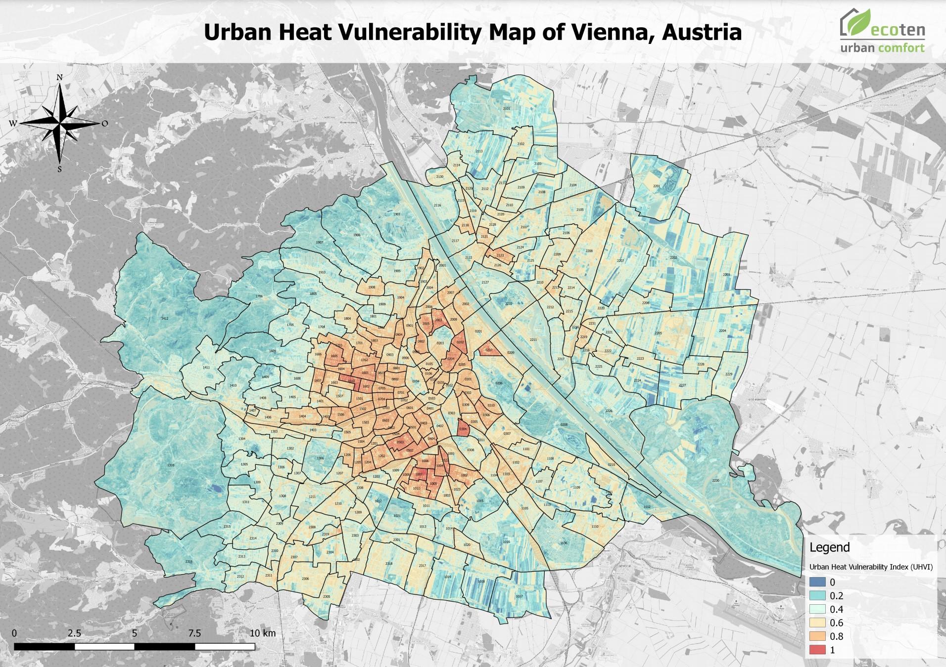 Eine Karte der Hitzeinseln in Wien. Die Innenbezirke sind deutlich stärker von extremer Hitze betroffen.